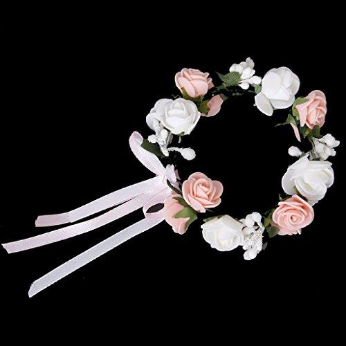 TOOGOO Bracelet Guirlande de Fleurs de Roses pour Festival Mariage Outil de Photographie - Rose et Blanc