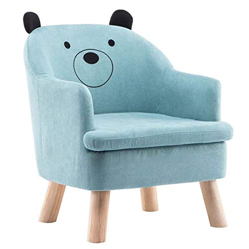 ZYCW Kids Armchair Children Sofa Tub Chair Wood Frame Thick Padding High Back Armrest Anti Slip Feet (bear,blue)