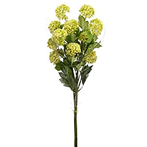 33″ Snowball Silk Flower Stem Bundle -Yellow/Green (Pack of 6)