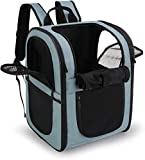 apollo walker Pet Backpack for Small Dogs Cats Rabbits, Soft-sided Mesh Pup Pack for Outdoor Travelling, Removable Fleece Mat, with Built-in Collar Buckle 30cm x 24cm x 41cm (BLUE)