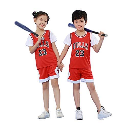 Jordrn Bulls # 23 Basketball Trikots Set für Jungen Mädchen, Top Westenshorts Sets Sport Sommeranzüge Top Short Set für Kinder Baby Sportswear-red-XXXS