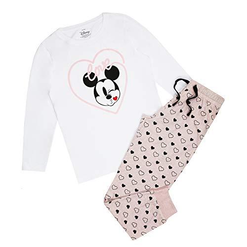 Disney Mickey Mouse Heart Kiss Pyjama Set Ensemble de Pijama, Multicoloured, 12 Taille Normale Femme
