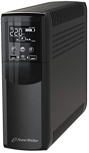PowerWalker VI 1000 CSW UPS 1000VA 600W Line Interact, 10121112 (UPS 1000VA 600W Line Interact. Pure Sine Wave, Driver HID, porte di ricarica USB)
