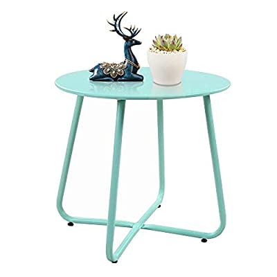 SUNYPLAY Patio Side Table,Small Round Metal Side Table Outdoor,Weather-Resistant End Table for Patio, Yard, Balcony, Garden (Mint Green)