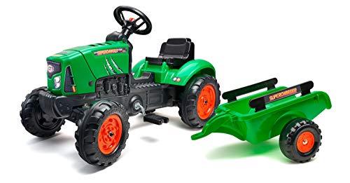 Falk 2031AB – Tractor con Pedales Supercharger con Remolque – A Partir de 2 años – Fabricado en Francia – Tapa Abierta – Volante direccional con bocina