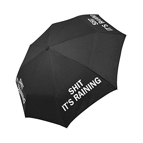 WECE Funny Quotes Saying Windproof Compact Auto Open and Close Folding Umbrella, Shit It's Raining Automatic Foldable Travel Parasol Umbrella, Black
