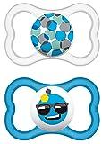 MAM 217111 - Ciuccio 'Air' in lattice per maschietti dai 16 mesi in su, confezione doppia, Colori/ modelli assortiti – Istruzioni in lingua straniera
