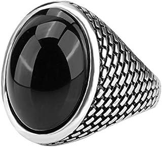 خاتم فضة عيار 925 عصري مخصص مع حجر راتنج اسود للرجال
