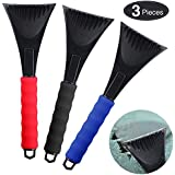 Mudder Snow Ice Scraper Removal Snow Scraper Tool Car Ice Scraper with Foam Handle for Car Windshield Window Frost Scraping Snow (Black, Red, Blue)