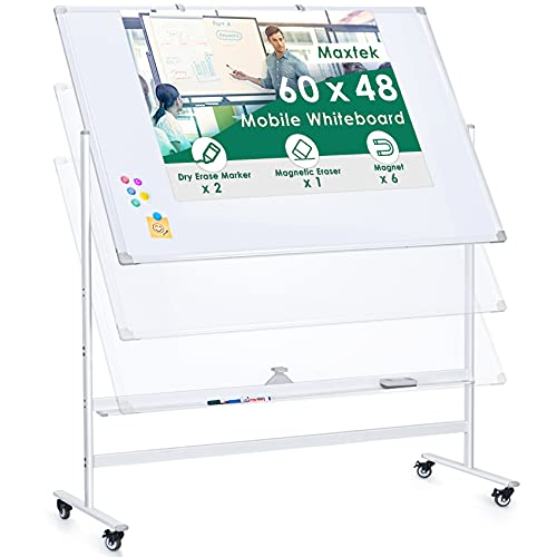 60 x 48 Large Rolling Whiteboard, Height Adjustable Mobile Magnetic Dry Erase Board Double Sided Whiteboard on Wheels Standing Easel White Board for Home Office & Classroom, Accessories Included