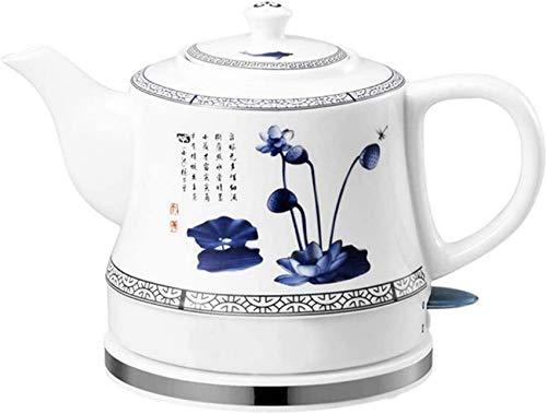 WCNMD Tetera inalámbrica de cerámica eléctrica Tetera de Tetera-Retro Rojo 1 l Juguete, 1000W Agua Rápido para té, café, Sopa, Base removible de Avena, Base de protección contra seco-Blanco