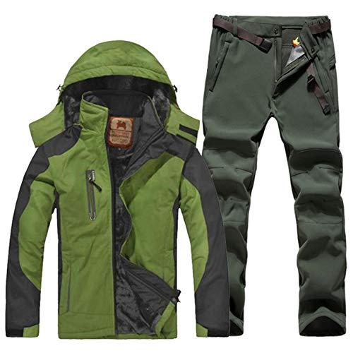 ESFHWYP Herren Skianzug Set Winter Wandern Skifahren Wasserdichtes Fleece Warme Jacken Angeln Trekking Skijacke + Hose Color-6 XL