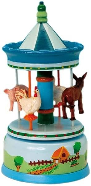 MusicBox Kingdom 43797 Carousel Farm Music Box Playing Old McDonald Has A Farm Blue