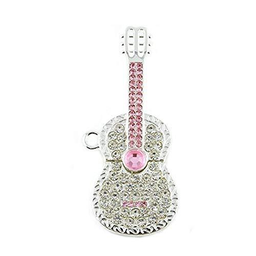 Hemore Memoria USB de 32 GB con diseño de guitarra de cristal con collar, color plateado y rosa