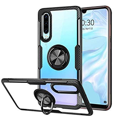 Kompatibel mit Huawei P30 Lite Hülle Huawei P30 Pro/P30 Silikon-Weiche Handyhülle Kickstand 360 Grad Handy transparent Magnetische Autohalterung Anti-Rutsch Schutz (Schwarz 1, P30 Lite)