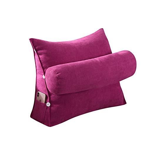 HF-keilkissen Bett Lese Bett-Kissen Dreieck Kissen Kissen Rückenstütze von unten Sitzkissen Adjustable Sofa Bürostuhl Taille Ansatz (Farbe : Tango red, Größe : 60x22x50cm)