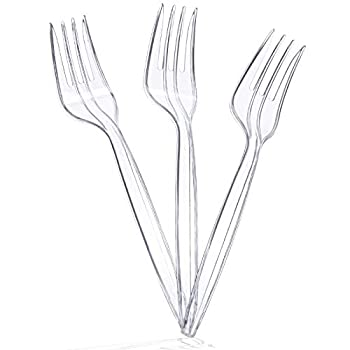 MOZUVE Plastic Forks Sturdy and Durable Disposable Forks for Party Picnic Barbecue or Restaurant Use Plastic Forks Bulk 100 pcs