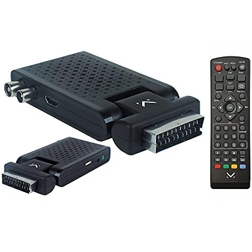 Majestic DEC 663N - Mini Decoder scart Digitale terrestre DVB-T/T2 HD, Ingresso USB, Telecomando, HDMI