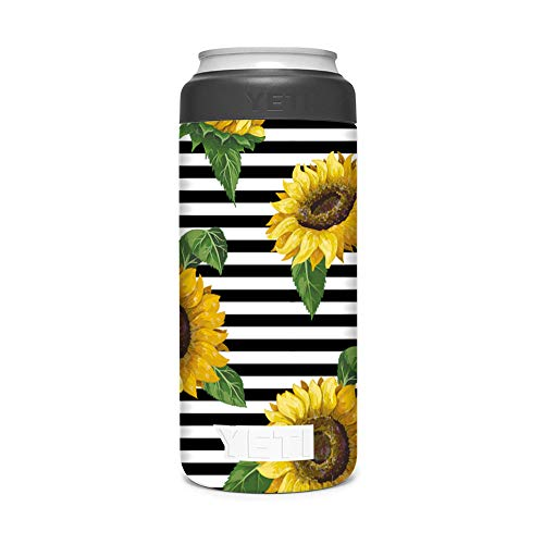 KRAFT'D Wrap Compatible with Yeti (R) Rambler 12 OZ Colster Slim Can Insulator - Decal Vinyl Only - Stylize Your Can Cooler for your Thin Can Beverages - Sunflower