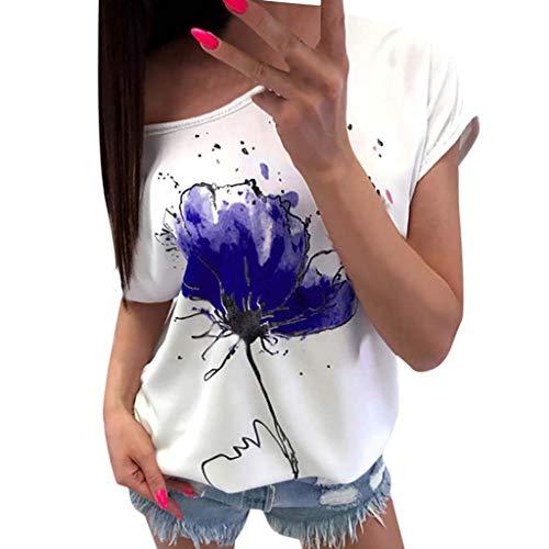 Momoxi Damen Sommer Casual Blumendruck Bluse Kurzarm Loose Top Shirt Tee Top Tank Shirt Camisole Blau XL