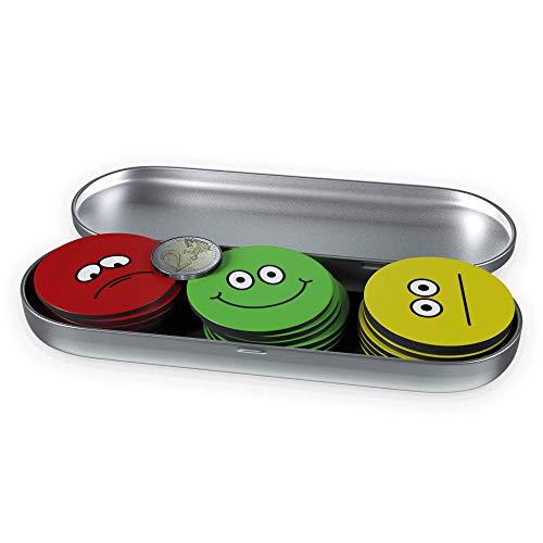Große Bunte Smiley-Magnete (21 St. ø 5 cm), Ampel-Magnete, Starke haftende Flach-Magnete Kühlschrank-Magnete, extra konzipierte Belohnungs-Magnete, trauriges, neutrales und lustiges Gesicht