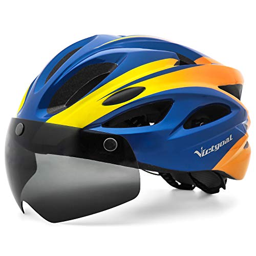 VICTGOAL Casco Bicicleta Adulto Montaña Casco Bicicleta con Luz Trasera LED Visera Magnética Tamaño Ajustable para Hombre Mujer (Naranja Azul) 🔥