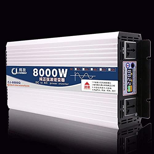 GZTYLQQ Inverter da 6000 W 8000 W con Prese CA Convertitore da Auto da CC 12 V/24 V/48 V/60 V a CA 110 V/220 V, con Display a Colori, Inverter a Onda sinusoidale Pura per Viaggi/Campeggio, 8000 W-48