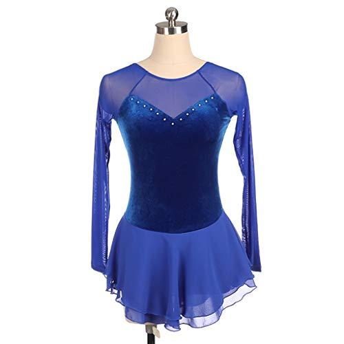 QINJLI Gebruikergedefinieerde kunstschaatsjurk Royal Blue Velvet lange mouwen pailletten mesh kinderen volwassene prestaties wedstrijden rok handgemaakt handfit comfort X-Small