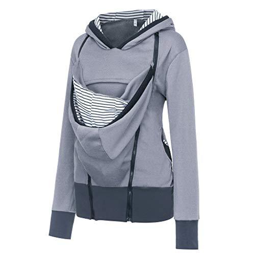 Women's Maternity Breastfeeding Kangaroo Hoodie Jacket for Baby Carrier Wrap Top Wearing Care Shirts Coat Gray