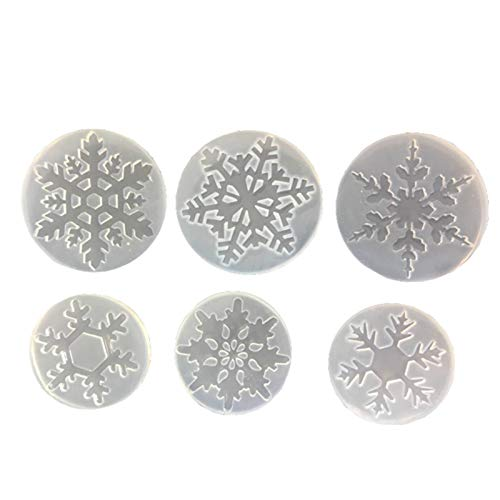 6 moldes de silicona para tartas de resina de copo de nieve, moldes de silicona para chocolate, caramelos, manualidades, collares, pendientes, colgantes, decoración de boda