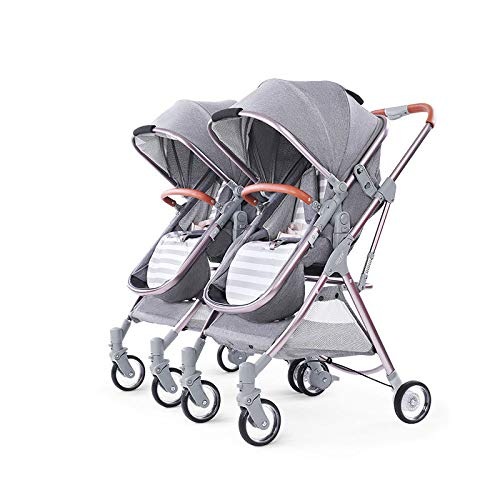 Cheapest Prices! BO LU Double Strollers Double Seats for Twins Foldable Can Sit and Lie with Awning ...