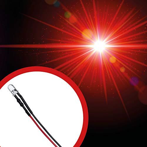 Lumetheus LED verkabelt 12 Volt 5mm Farbe rot verkabelte LEDs mit Kabel verlötet 12V Widerstand rote Leuchtdioden