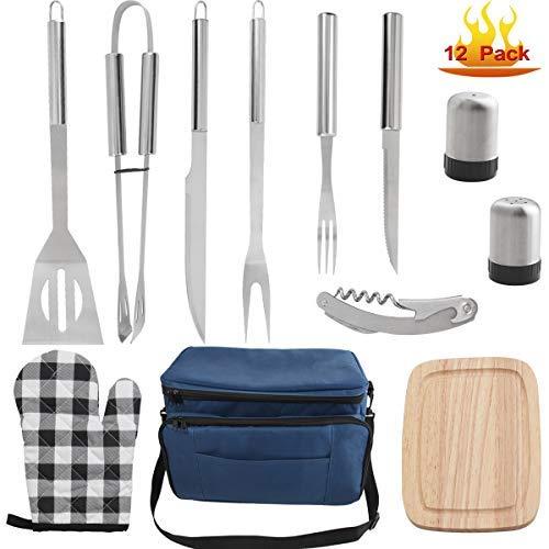 grilljoy 12 pcs d'outils Barbecue avec Sac Isotherme Bleu Isolé - Ustensiles Barbecue en Acier Inoxydable - Kit Barbecue Préfet pour Les Amateurs de Camping