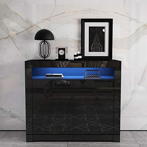 TUKAILAI - Aparador moderno de color negro brillante mate con luces LED, estantería de almacenamiento, para comedor, sala de estar, cocina, oficina