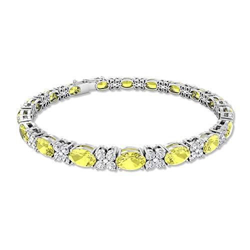 Pulsera de piedra de laboratorio de 8 quilates de color amarillo, de forma ovalada, pulsera de tenis, 2 ct SGL, certificado de diamante HI-SI Cluster de boda, 10K Oro amarillo 7 Inches