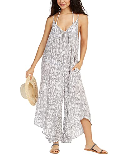 J. VALDI Printed Flowy Cover-Up Jumpsuit, Gray XL
