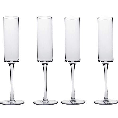 AIKASA - Moderne Champagne fluiten Set van 4 - Champagne Bril - Mimosa Bril, 100% loodvrij kristal Stemware, duidelijk, 6 oz, hand geblazen glas champagne fluiten - hand gemaakt door artiesten