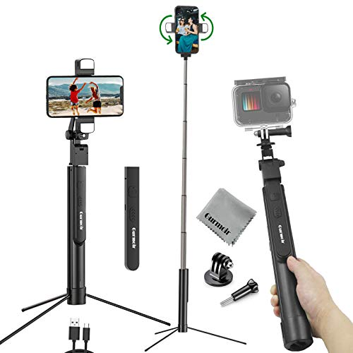 Gurmoir 60inch Handheld Stabilizer 2 in1 Multi-Functional Phone Bluetooth Selfie Stick Action Camera Tripod Monopod for Gopro 9/8/7/6 & iPhone 12/11/7/6/XS/XR and More Android Phones & Action Cameras
