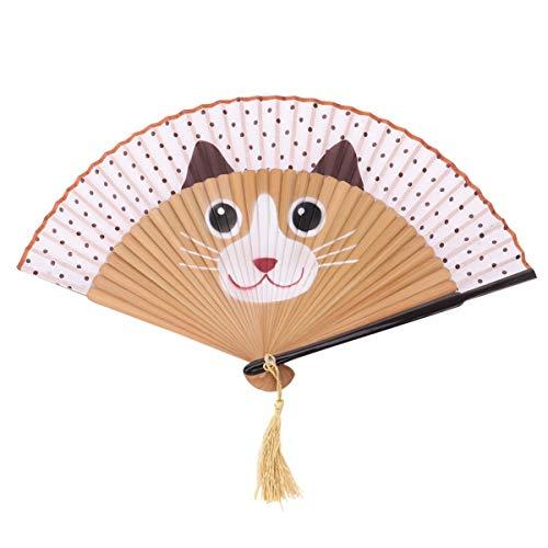 Garneck Sommerhaus Dekoration Japanische Faltfächer Niedlichen Cartoon Katze Faltfächer Wanddekoration Hochwertige Seide Fächer (Braun)