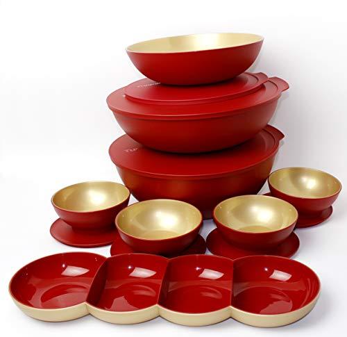 Tupperware Allegra Servierschüssel (8) 4x275ml & 1x1,5l & 3,5L & 5l mit Deckel & Allegra Perle Raupe ROT/Gold