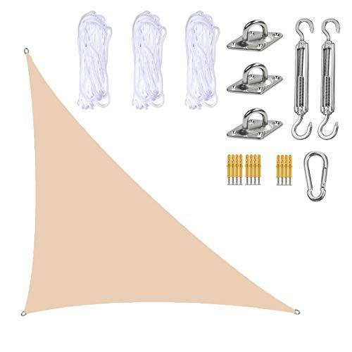 ZJM Toldo De Protección Solar Beige con Kit De Fijación, Toldo Triangular para Toldo, Toldo De Tela para Patio Al Aire Libre, Toldo De Tela para Refugio, 95% De Protección UV,3x3x4.3M