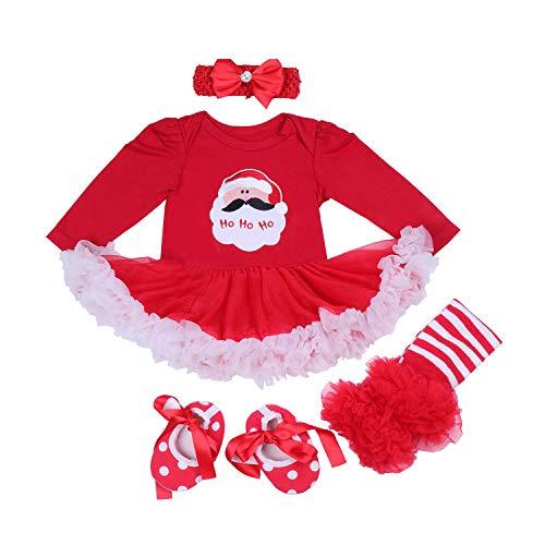 BabyPreg Baby Meisjes Mijn 1e Kerst Kostuum, Tutu Romper Hoofdband Outfit Set