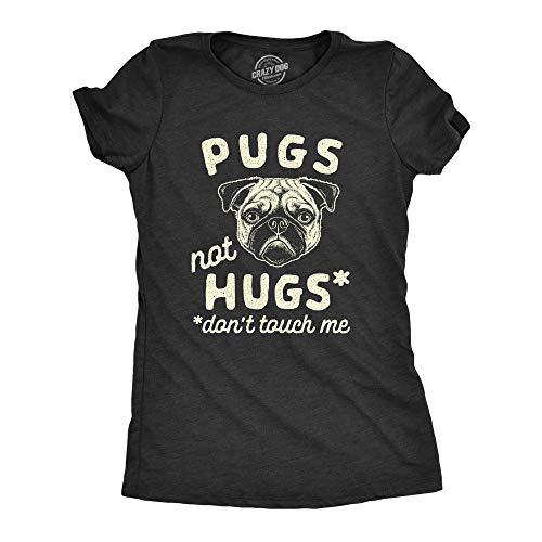 Womens Pugs Not Hugs Don't Touch Me Tshirt Funny Dog Social Distancing Quarantine Tee (Heather Black) - M