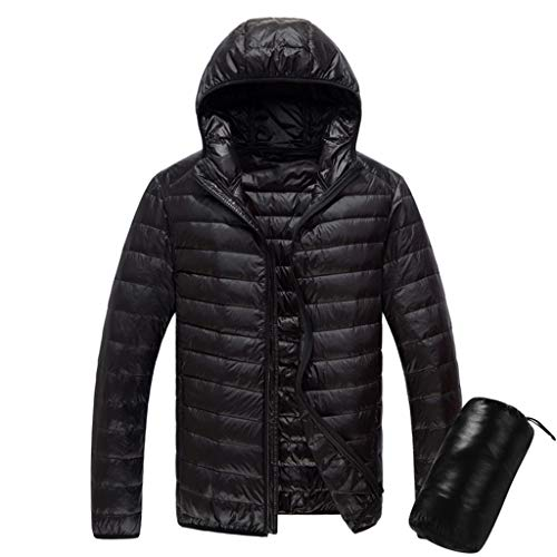 Daunenjacke Mit Kapuze, Luotuo Herren Ultraleicht Wintermantel Geschenk Tragetasche Winter Warme Langarm Hooded Daunenmantel Einfarbig Casual Zipper Steppjacke Outwear