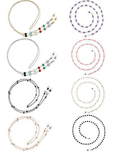 8 Stücke Brillen Ketten Perlen Sonnenbrillen Gurt Halter Elegante Brillenhalter Kette, 8 Stilen (Weiß, Schwarz, Lila, Lila, Rosa, Gold, Silber)