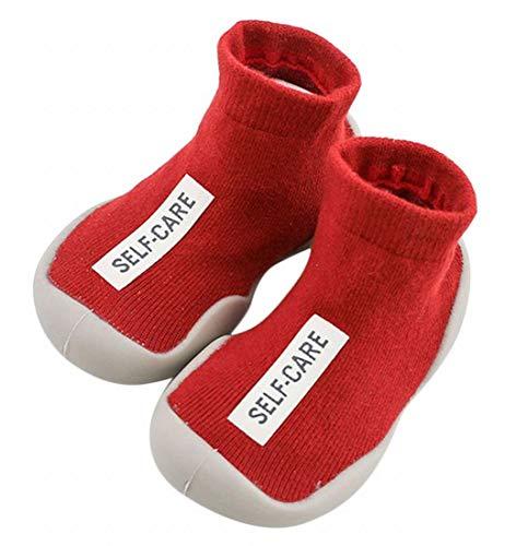 Plus Nao(プラスナオ) ソックス 靴下 ニットソックスシューズ キッズ ベビー ソックスシューズ 滑り防止 ルームシューズ 室内履き 室外兼用 2425【14.5cm】 レッド