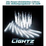 Power Lightz 25 Stück Power-Knicklichter (1,5 x 15 cm) in weiß mit Haken und Befestigungsband,...