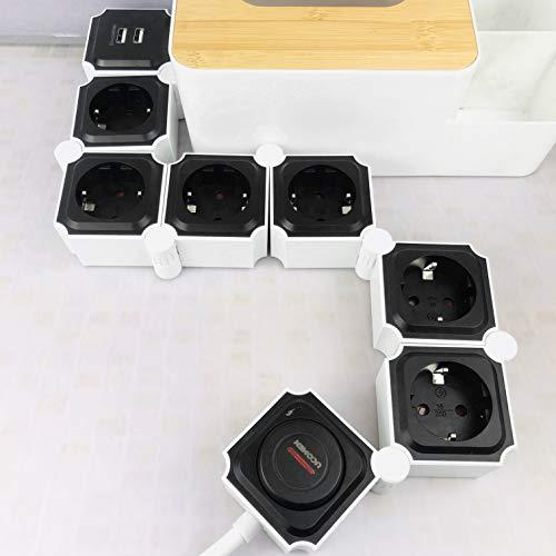 UCOMEN Regleta Enchufes 6 Tomas 2 Puertos USB, Power Strip, Regleta Enchufes Múltiples con Protección Sobretensión y Sobrecarga, 3680W, Negro