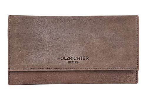HOLZRICHTER Berlin Damen Geldbörse (XL) - Großes Fächer Portemonnaie aus Leder - Dunkelbraun