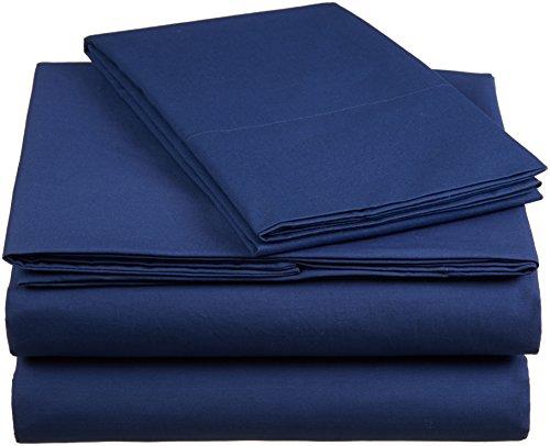 AmazonBasics 'Everyday' Bettwäscheset aus 100% Baumwolle, Marineblau 135x200 cm & 1 Kissenbezug 50x80 cm